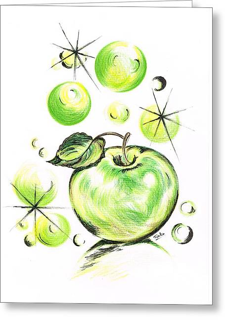 Apple With Soapy Bubbles Greeting Card by Teresa White