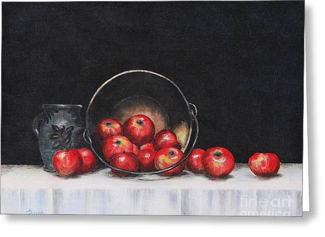Pottery Pitcher Paintings Greeting Cards - Apple Still Life Greeting Card by Rita Miller