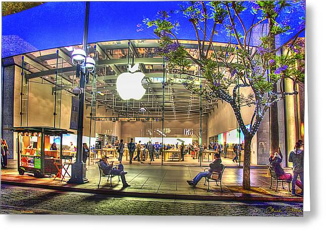 Jacaranda Tree Greeting Cards - Apple Store - Santa Monica Greeting Card by Chuck Staley