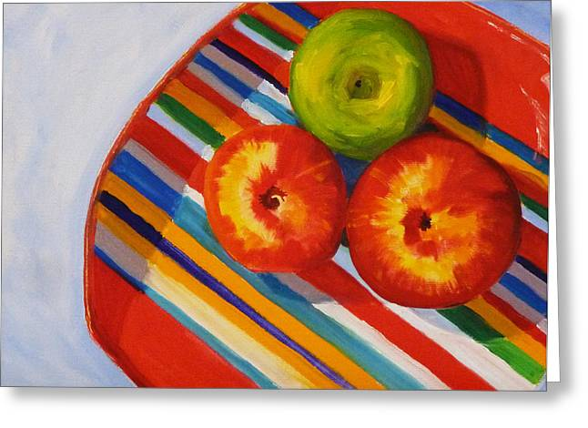 American Food Paintings Greeting Cards - Apple Stripe Greeting Card by Nancy Merkle