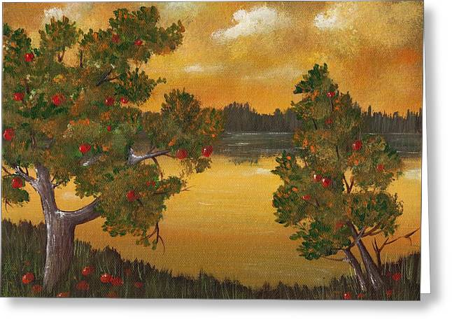 Surreal Landscape Drawings Greeting Cards - Apple Sunset Greeting Card by Anastasiya Malakhova