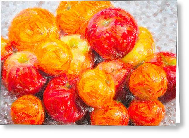 Apple Pastels Greeting Cards - Apple Tangerine and Oranges Greeting Card by Alain De Maximy
