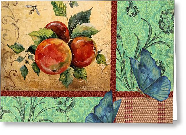 Gold Trim Greeting Cards - Apple Tapestry-JP2203 Greeting Card by Jean Plout