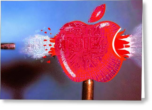 Apple Mixed Media Greeting Cards - Apple Greeting Card by Tony Rubino