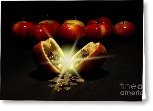 Valuable Greeting Cards - Apples with copper coins  Greeting Card by Jaroslaw Blaminsky