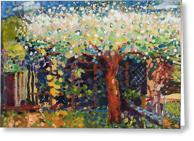Apple Paintings Greeting Cards - Apple Tree Blossom Greeting Card by Marco Cazzulini