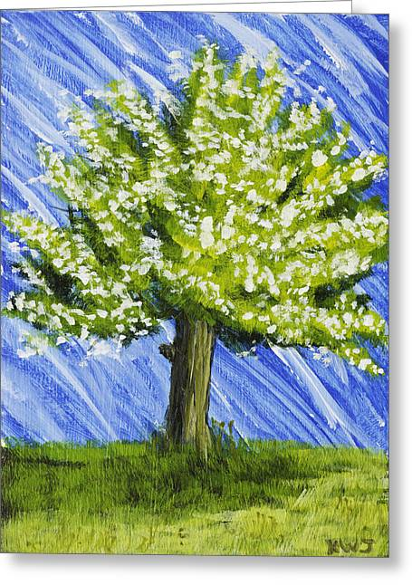 Cherry Blossoms Paintings Greeting Cards - Apple tree Painting with White Flowers Greeting Card by Keith Webber Jr