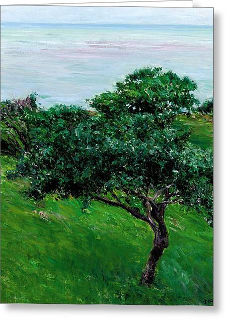 Green Fruit Greeting Cards - Apple Trees by the Sea Trouville Greeting Card by Gustave Caillebotte