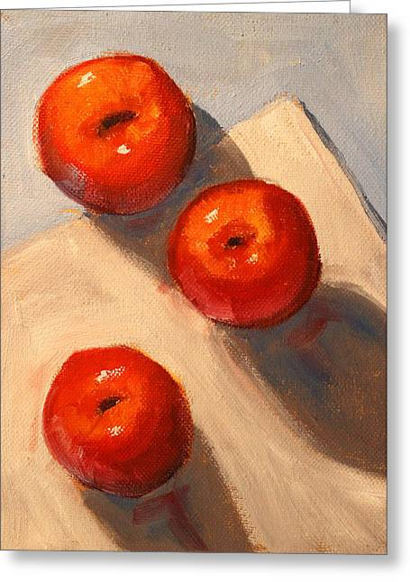 American Food Paintings Greeting Cards - Apple Trio Still Life Greeting Card by Nancy Merkle