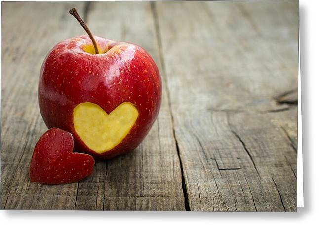 Loose Greeting Cards - Apple with engraved heart Greeting Card by Aged Pixel