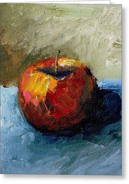 Apple Paintings Greeting Cards - Apple with Olive and Grey Greeting Card by Michelle Calkins