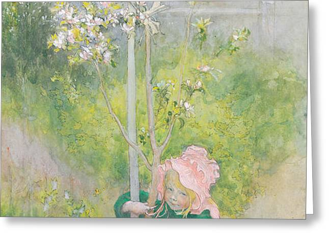 Appleblossom Greeting Card by Carl Larsson