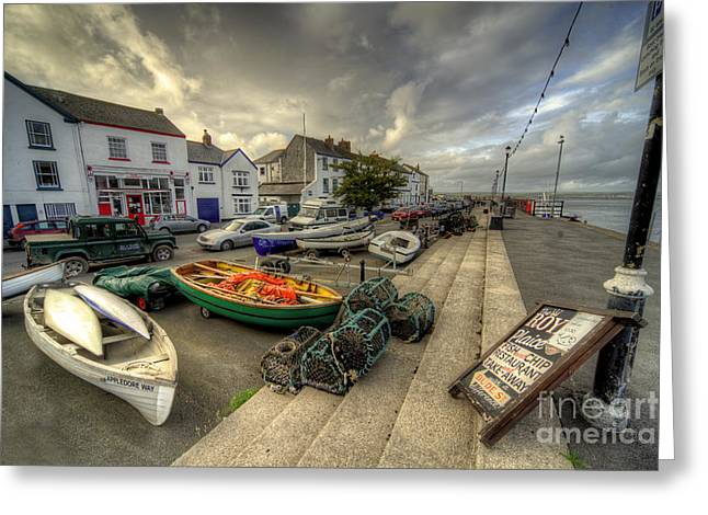Lobster Pot Greeting Cards - Appledore Quay  Greeting Card by Rob Hawkins