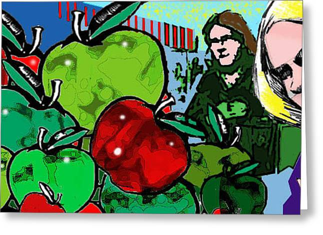 Apple Pyrography Greeting Cards - Applefaces Greeting Card by Steve Hogan