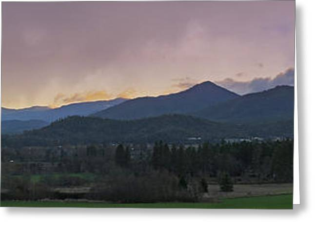 Tin Roof Greeting Cards - Applegate Valley SE Winter Evening Greeting Card by Mick Anderson