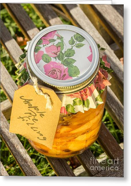 Food Safe Greeting Cards - Applepie Filling Canned Greeting Card by Iris Richardson
