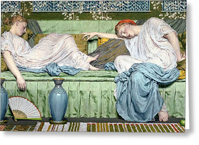 Sleep Paintings Greeting Cards - Apples Greeting Card by Albert Joseph Moore