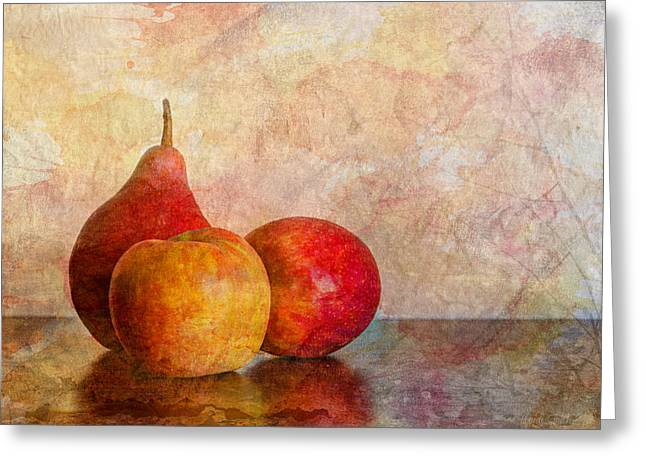 Textured Artwork Greeting Cards - Apples And A Pear Greeting Card by Heidi Smith