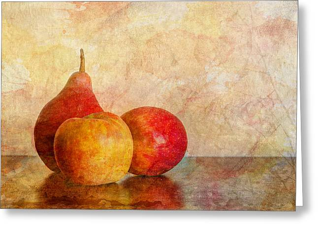 Trio Greeting Cards - Apples And A Pear II Greeting Card by Heidi Smith