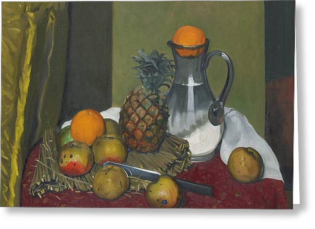 Water Jug Greeting Cards - Apples and a pineapple Greeting Card by Felix Edouard Vallotton