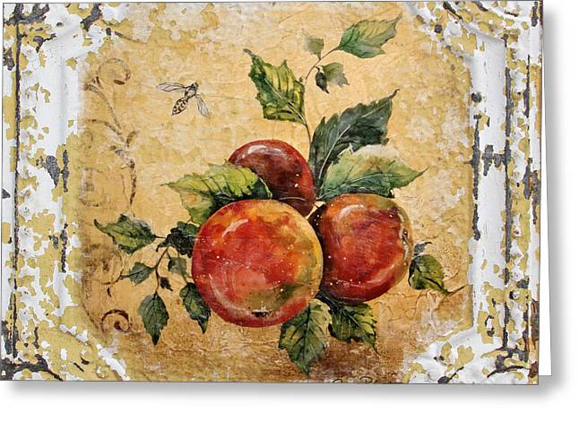 Apples And Bee On Vintage Tin Greeting Card by Jean Plout