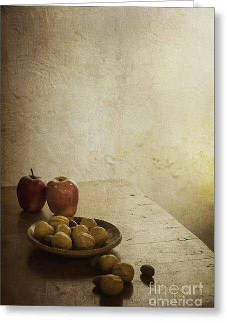 Corner Kitchen Greeting Cards - Apples and Figs Greeting Card by Margie Hurwich