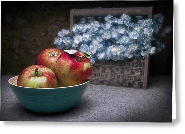 Fresh Picked Fruit Greeting Cards - Apples and Flower Basket Still Life Greeting Card by Tom Mc Nemar