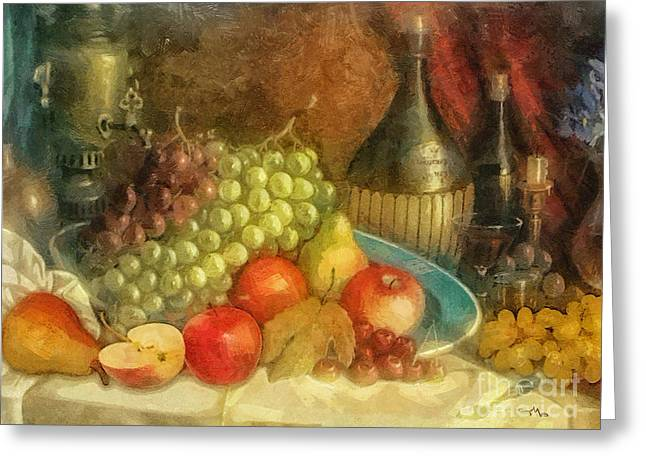 Fruit And Wine Greeting Cards - Apples and Grapes Greeting Card by Mo T