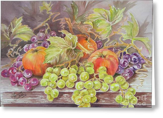 Summer Celeste Greeting Cards - Apples and Grapes Greeting Card by Summer Celeste