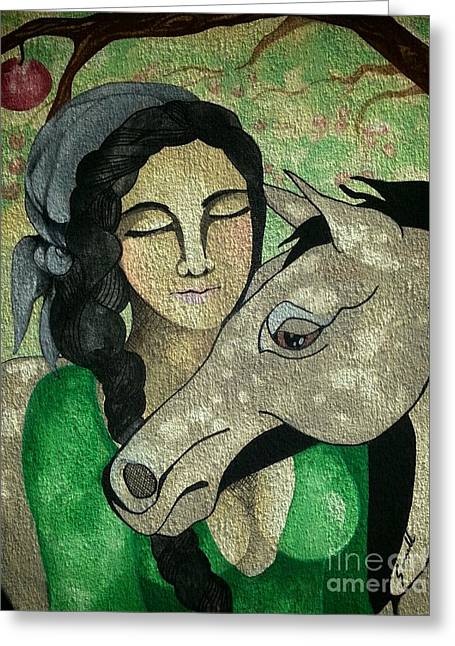 Apples And Horses Greeting Card by Amy Sorrell