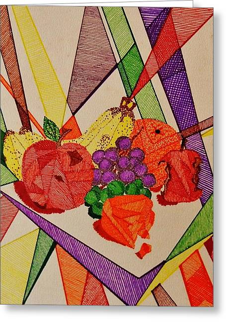 Cheeses Drawings Greeting Cards - Apples and Oranges Greeting Card by Celeste Manning
