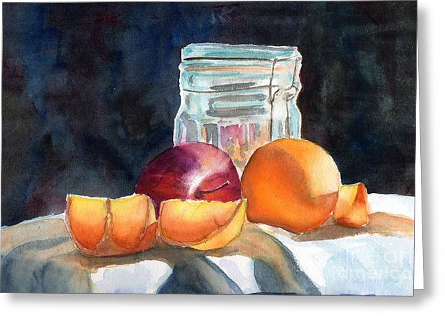 Old Objects Paintings Greeting Cards - Apples And Oranges Greeting Card by Mohamed Hirji