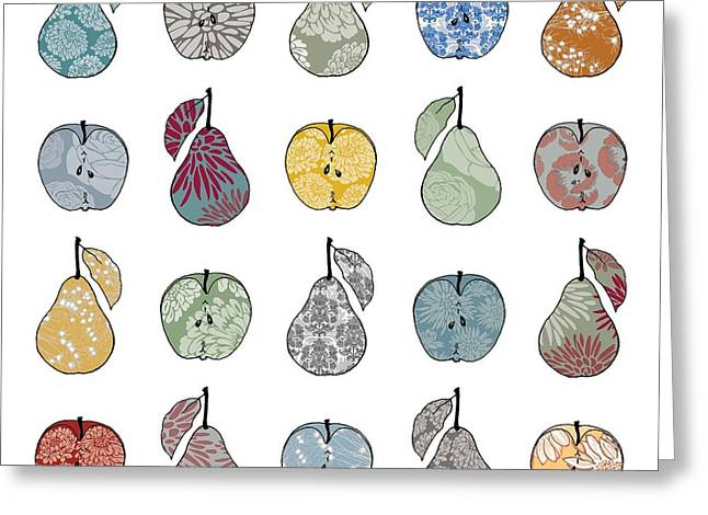 Cushion Greeting Cards - Apples and Pears Greeting Card by Sarah Hough
