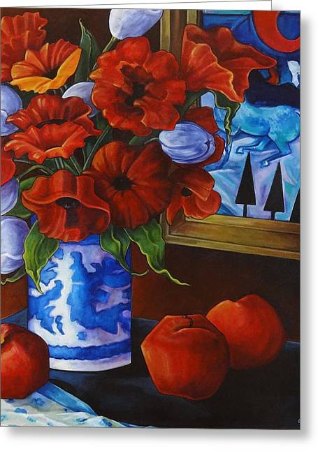 Thome Greeting Cards - Apples and Poppies Greeting Card by Transcend Designs