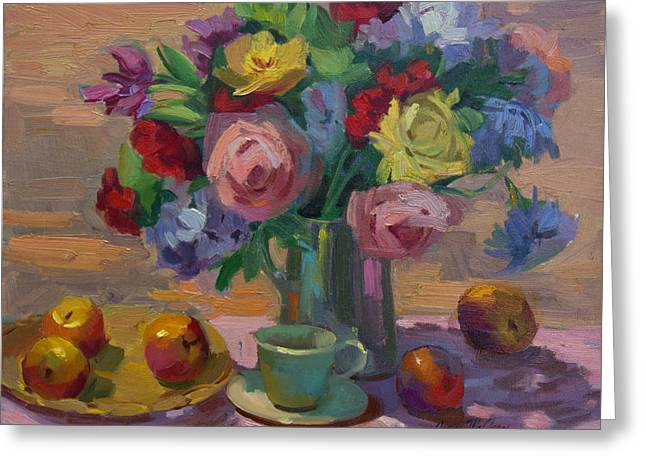 Colorful Roses Greeting Cards - Apples and Roses Plein Air Greeting Card by Diane McClary