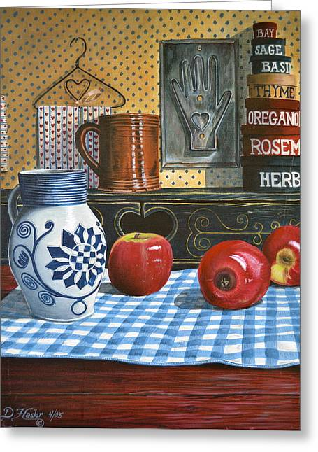 Stoneware Paintings Greeting Cards - Apples and Stoneware Greeting Card by Dave Hasler