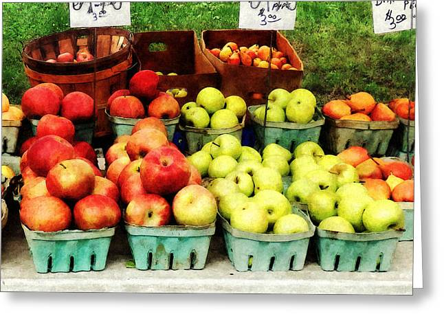 Farmers Market Greeting Cards - Apples at Farmers Market Greeting Card by Susan Savad