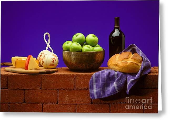 Loaf Of Bread Greeting Cards - Apples Bread and Cheese Greeting Card by Craig Lovell