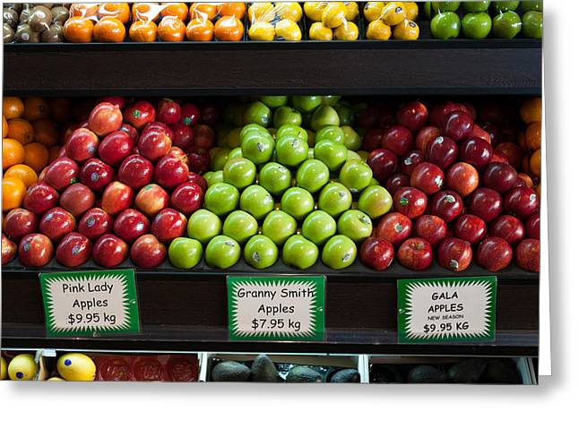 Granny Greeting Cards - Apples For Sale At Grocery Store Greeting Card by Panoramic Images