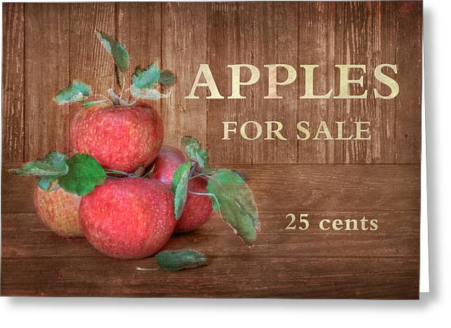 Farm Stand Greeting Cards - Apples For Sale Greeting Card by Lori Deiter