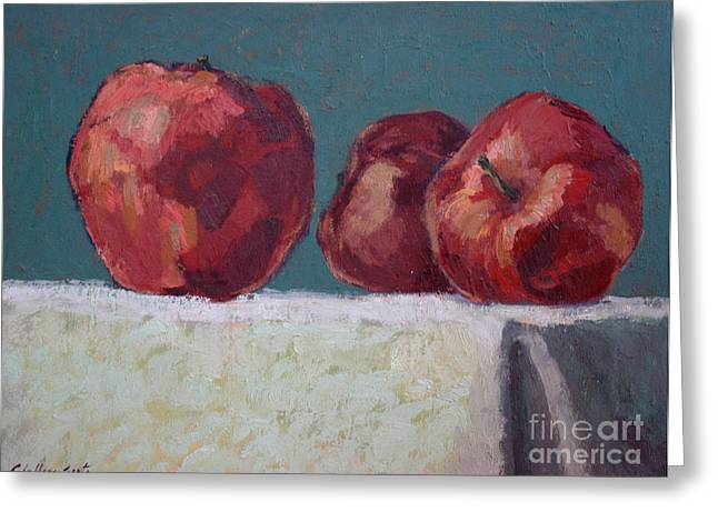 Shadows On Apples Greeting Cards - Apples II Greeting Card by Monica Caballero