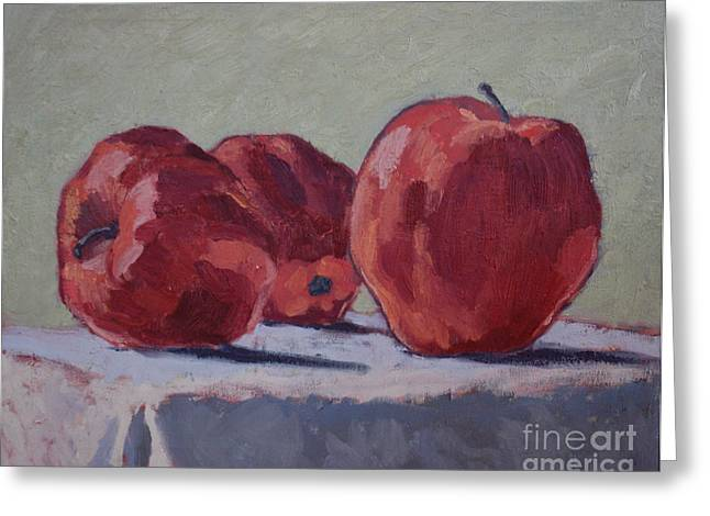 Shadows On Apples Greeting Cards - Apples III Greeting Card by Monica Caballero