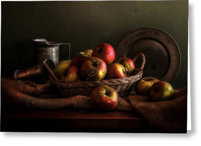 Still-life With A Basket Greeting Cards - Apples in a basket Greeting Card by Hugo Bussen