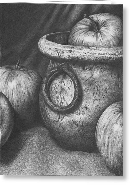 Apples In Stoneware Greeting Card by Michelle Harrington