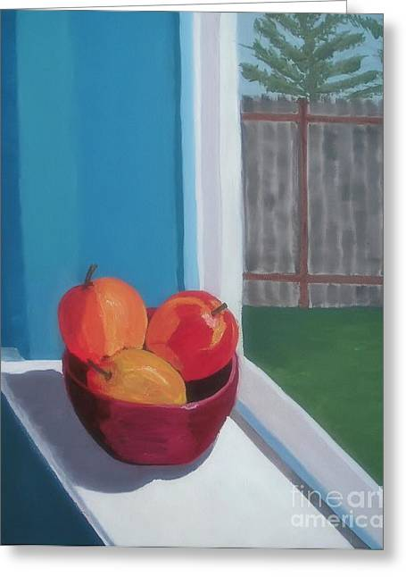 Window Of Life Greeting Cards - Apples in Window Greeting Card by Rachel Dunkin