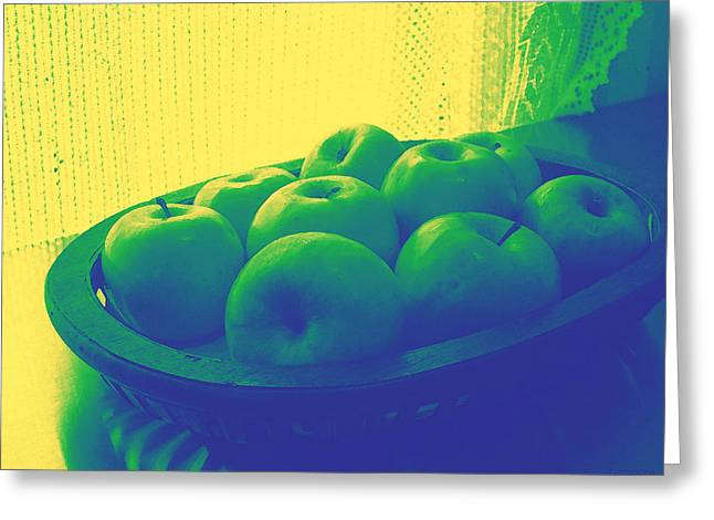 Analogous Greeting Cards - Apples in Yellow Blue and Green Greeting Card by Shawna  Rowe