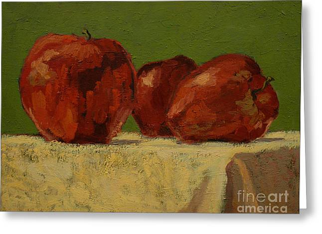 Shadows On Apples Greeting Cards - Apples IV Greeting Card by Monica Caballero
