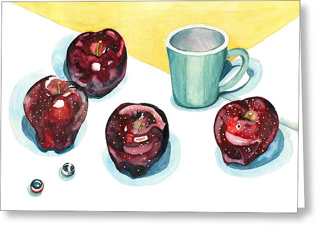 Marble Top Table Greeting Cards - Apples Greeting Card by Katherine Miller