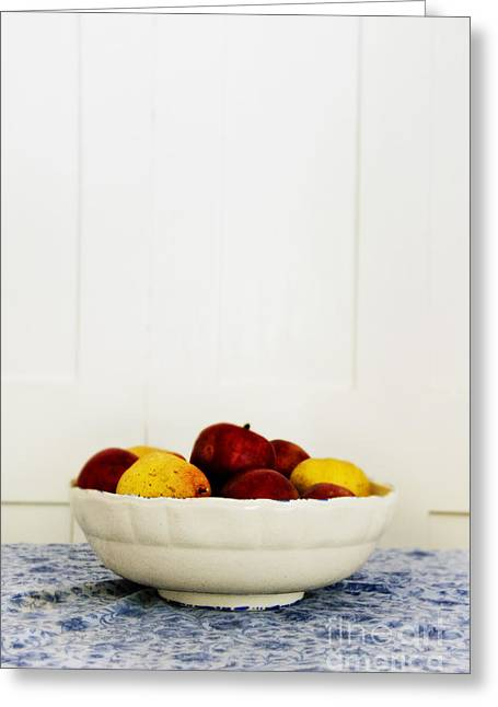 Table Cloth Greeting Cards - Apples Greeting Card by Margie Hurwich