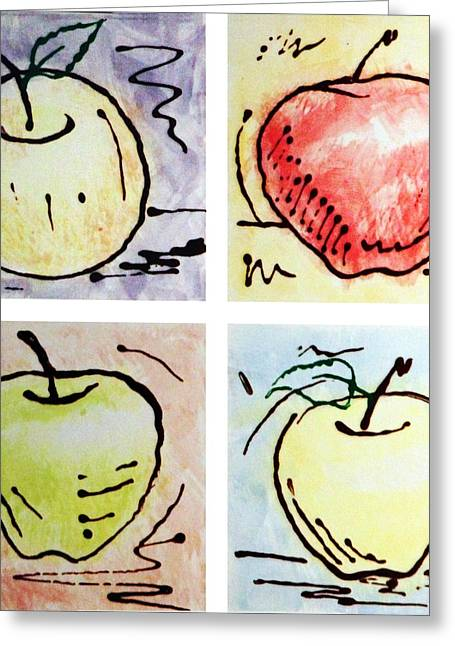 Apple Ceramics Greeting Cards - Apples Greeting Card by Nathan Ryan